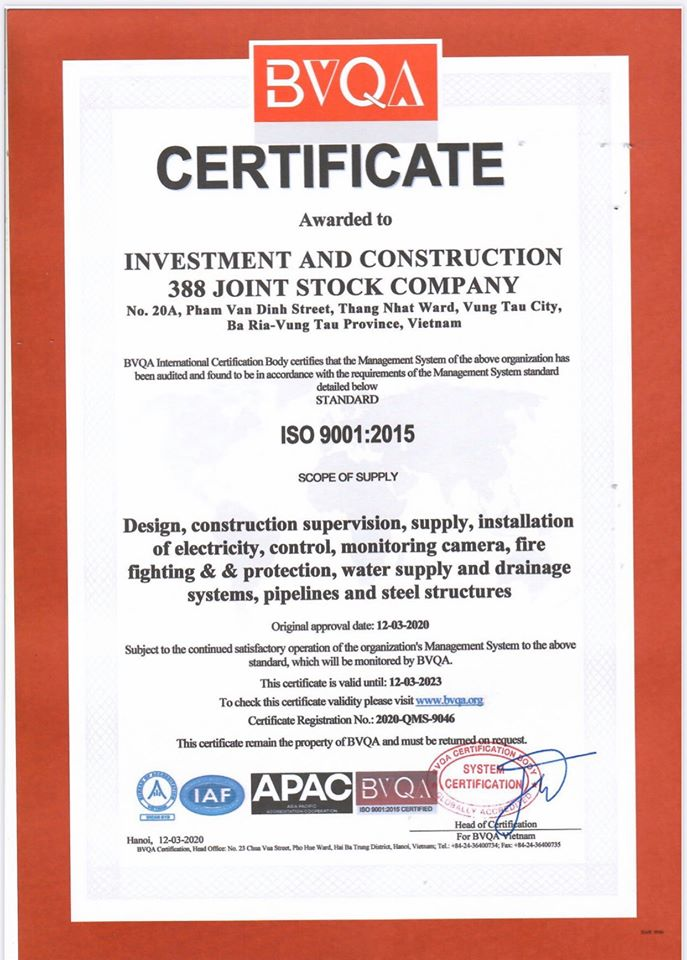 388IC được cấp chứng nhận ISO 9001:2015 và ISO 45000:2018